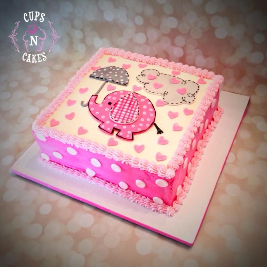 Elephant Baby Shower   Cake By Cups N Cakes