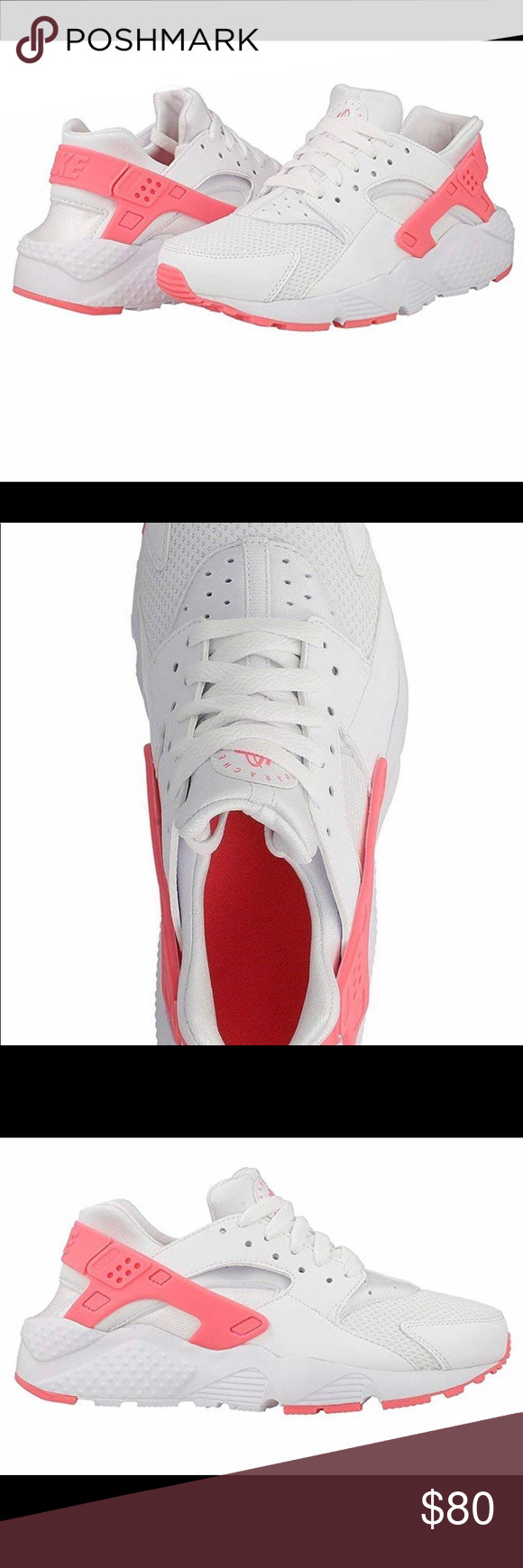 bb0684d6b0a4 Nike Huarache Run - White Pink Brand new in box - junior sizes converted to  women  Size 7   7.5 Shoes Sneakers