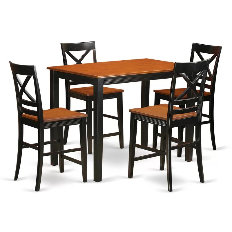 Socha Rubberwood Solid Wood Dining Set Counter Height Dining Table Set Dining Table Dining Table Setting