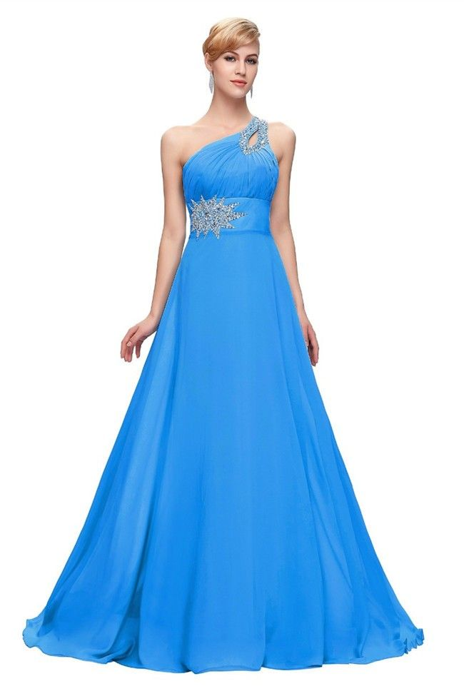 One Shoulder Front Cut Out Corset Pool Blue Chiffon Beaded Prom ...