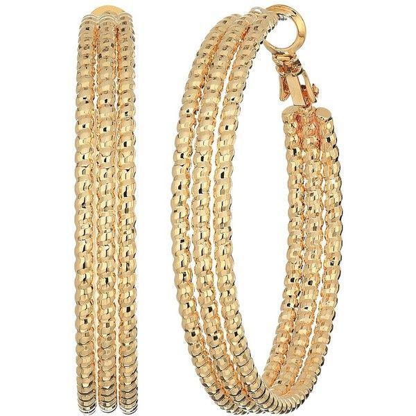 GUESS Medium Triple Textured Wire Hoop Earrings Rose Gold Earring
