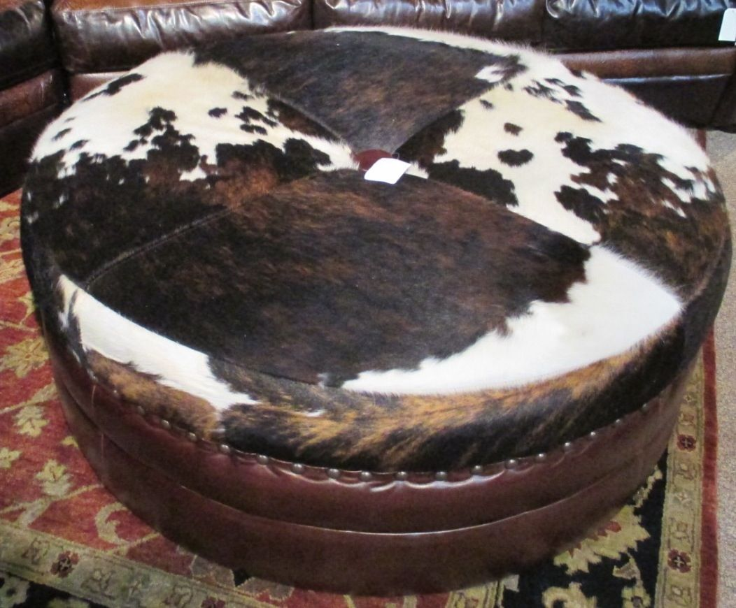 Beautiful Leather And Cowhide Ottoman Rustic Dream Home
