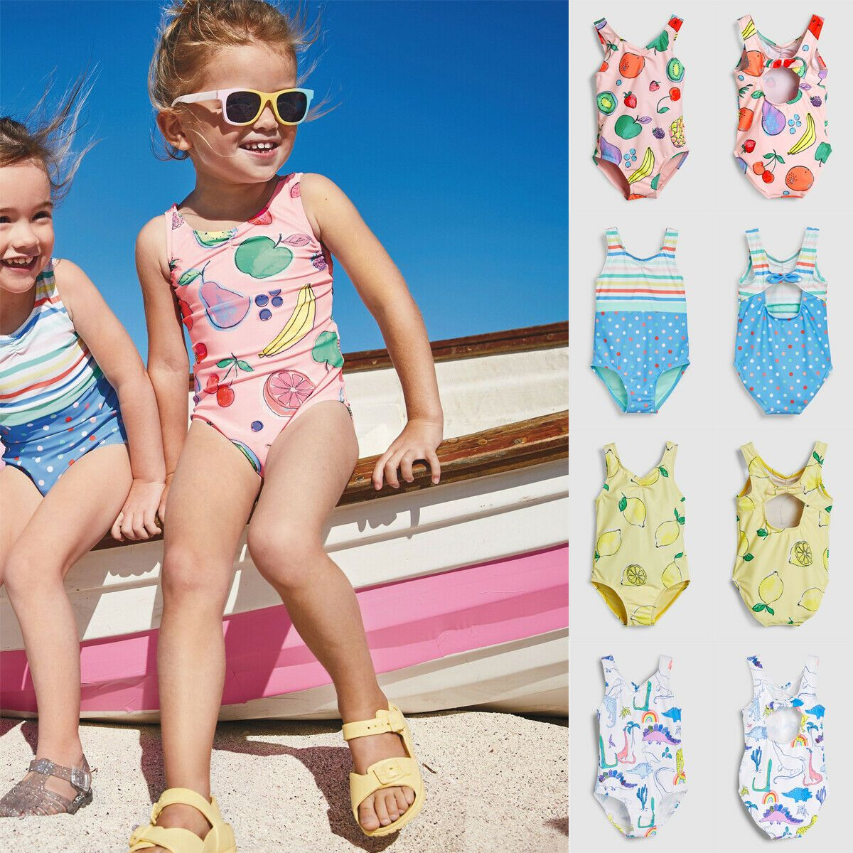 Toddler Kids Baby Girls Cartoon Vest Tops Shorts Swimwear Swimsuit Outfits Sets