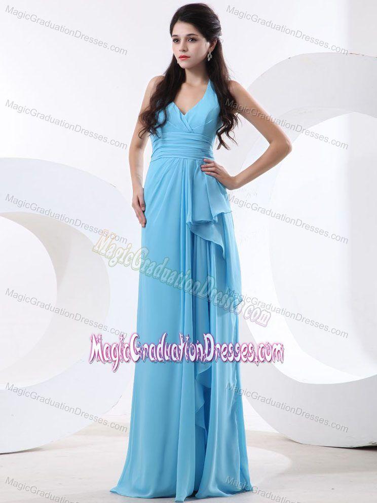 2013 Halter Baby Blue with Ruche College Graduation Dress in Inverkeithing #graduationdresscollege