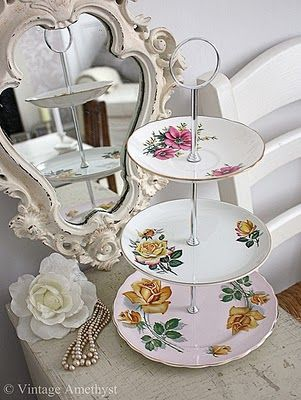 I am going to pretty up my vanity by using a cake stand for my makeup and other baubles!