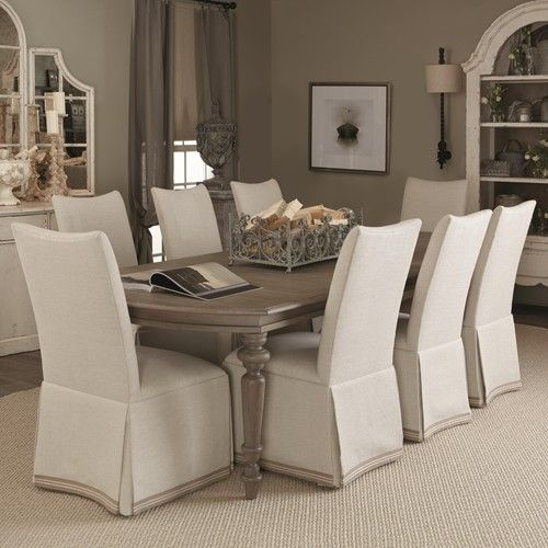 Lovely Bernhardt Auberge 9 Piece Dining Set With Skirted Chairs