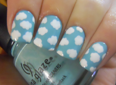 Cloud Manicure #manicure #pedicure #fingernail #finger #nail #polish #lacquer #paint #cloud #sky