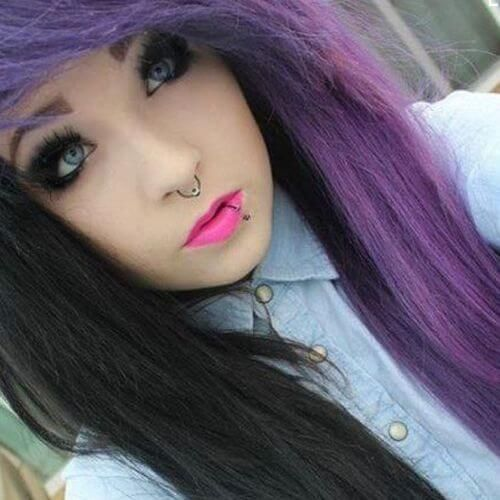 Black Purple Long Hairstyles For Emo Girls Hair Styles Dyed Hair Scene Hair