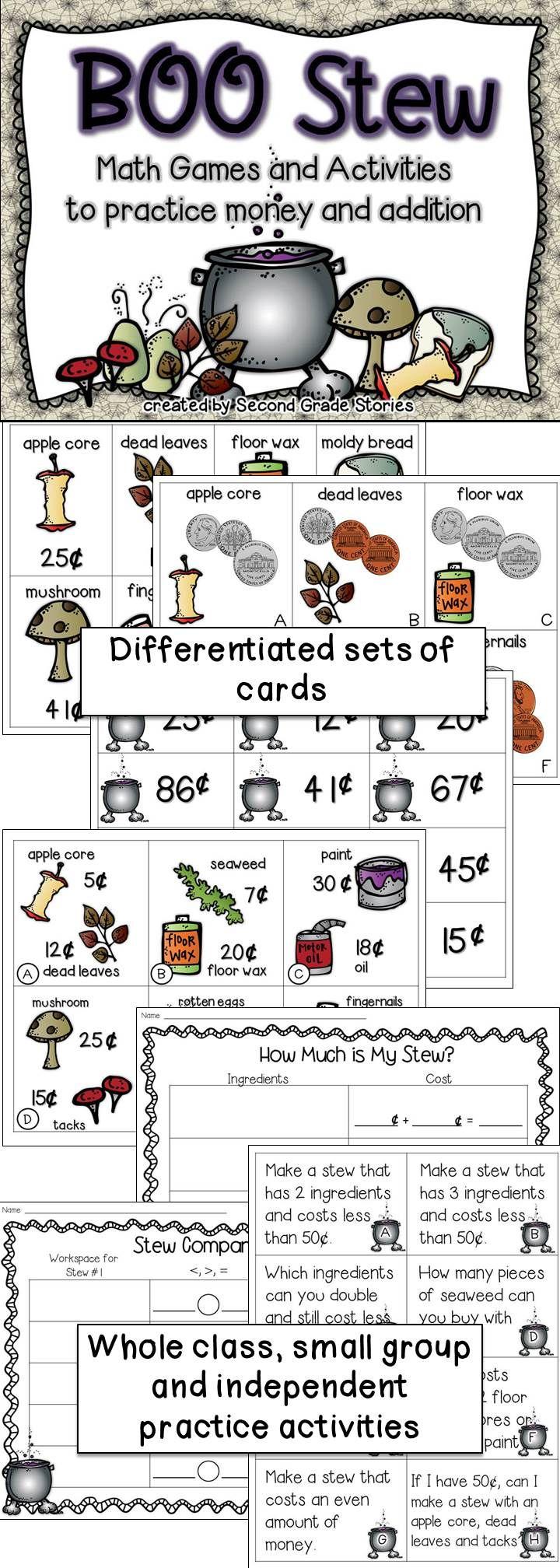 halloween boo stew money and addition activities math fourth grade math math activities. Black Bedroom Furniture Sets. Home Design Ideas