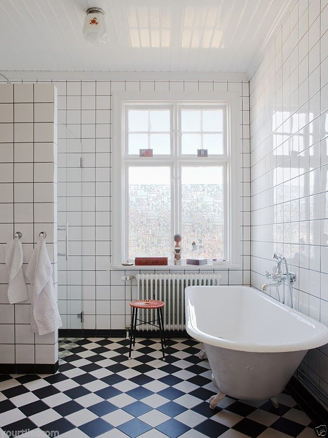 Black And White Victorian Bathroom Ideas Part - 40: Liberty Chequers Black U0026 White Victorian Encaustic Pattern Wall U0026 Floor  Tiles | EBay