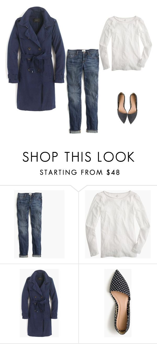 """""""J.Crew Washed Cotton Trench Coat item e8023 in Navy"""" by justvisiting ❤ liked on Polyvore featuring J.Crew"""