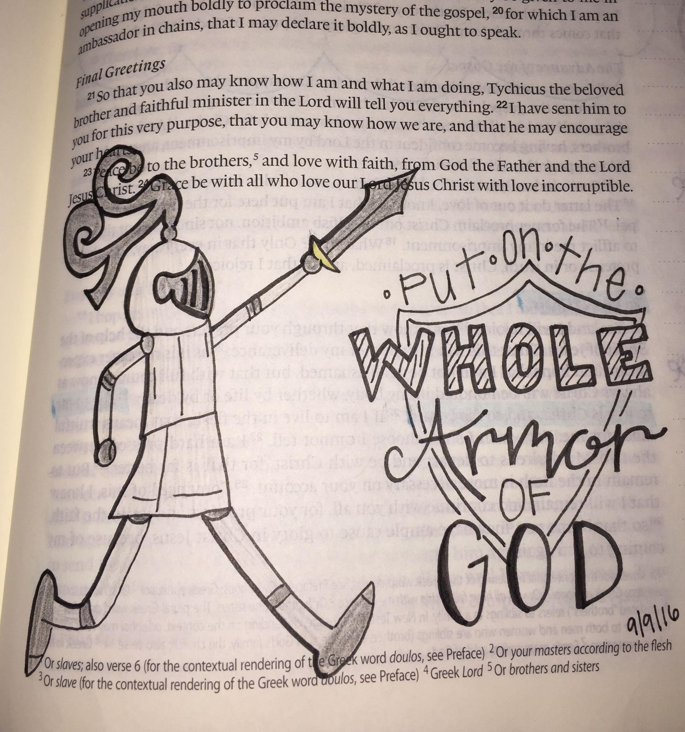 ephesians 6 11 put on the whole armor of god bible journaling
