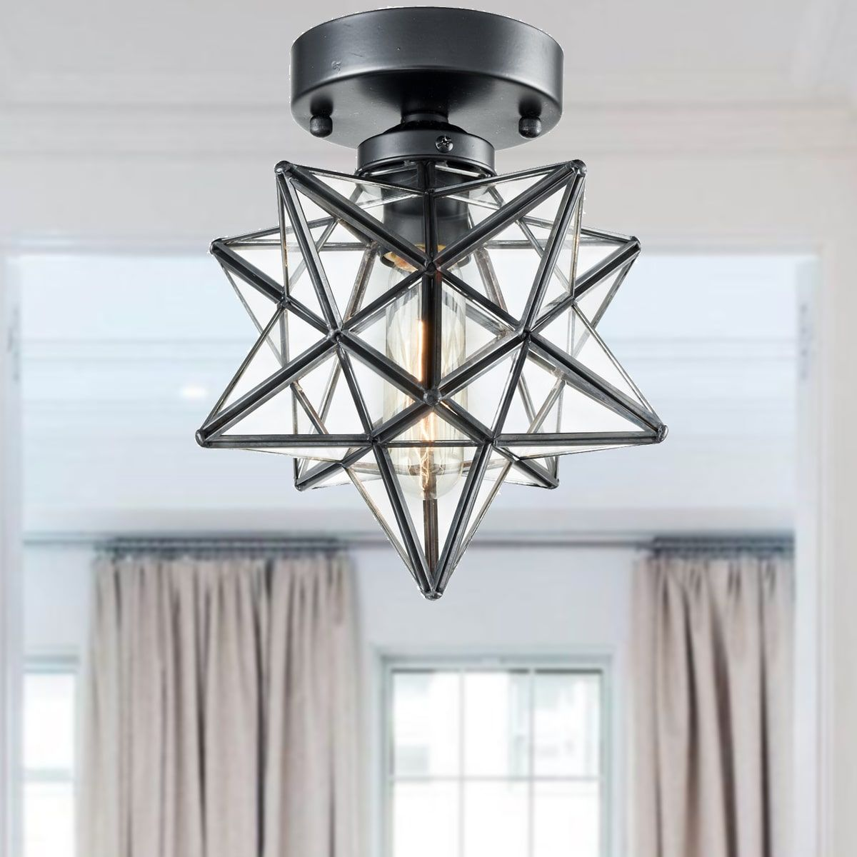 Industrial Moravian Star Ceiling Light With Clear Glass 8 Inches Ceiling Lights Star Lights On Ceiling Glass Light Fixture