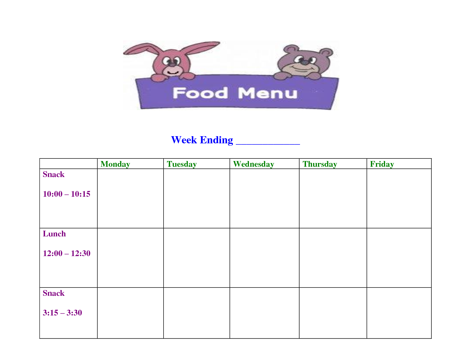 photo regarding Free Printable Daycare Menus named Working day Treatment Blank Menu Template mo Weekly menu template