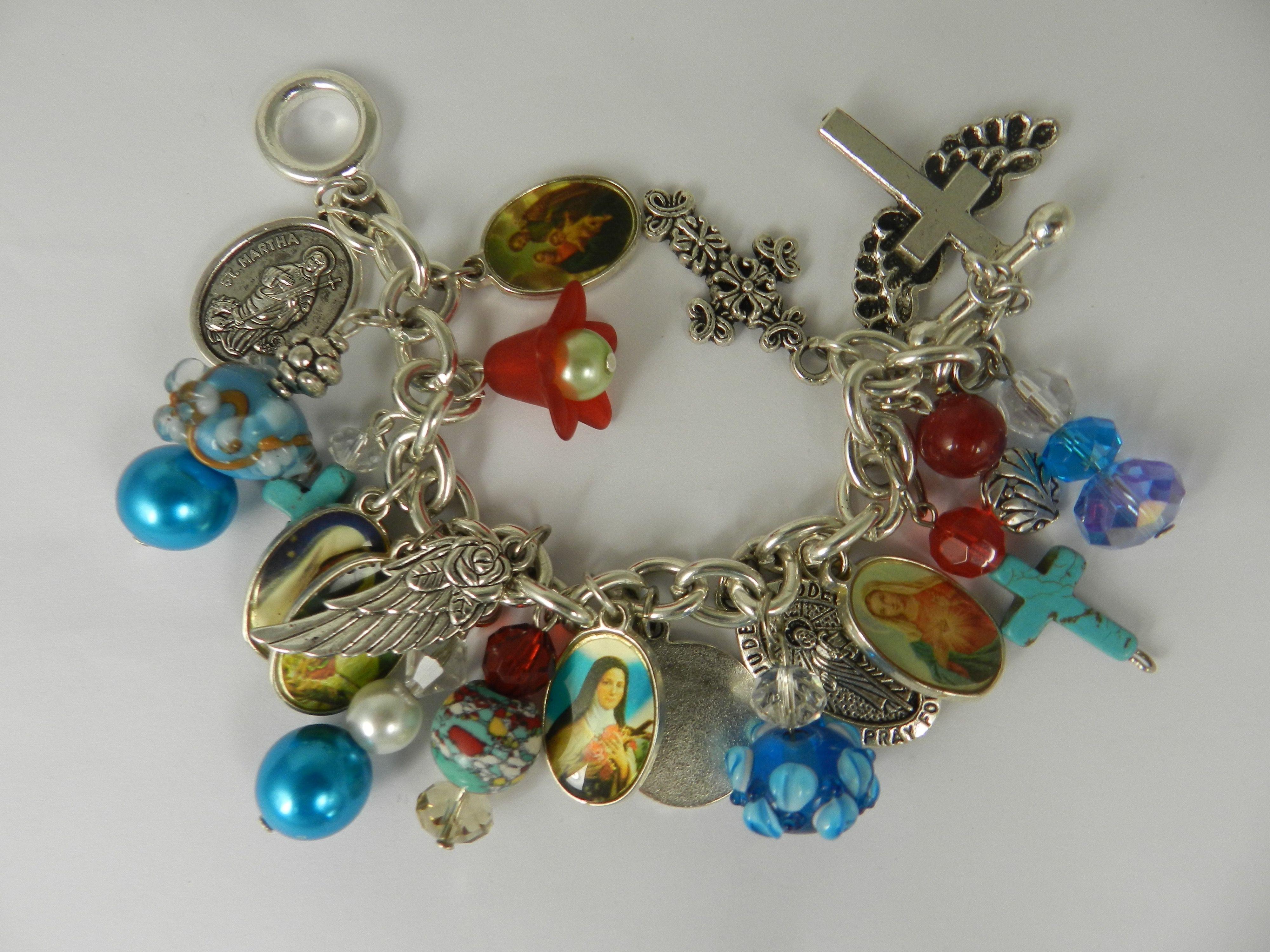 Christian charm bracelet catholic holy medals saint virgin mary