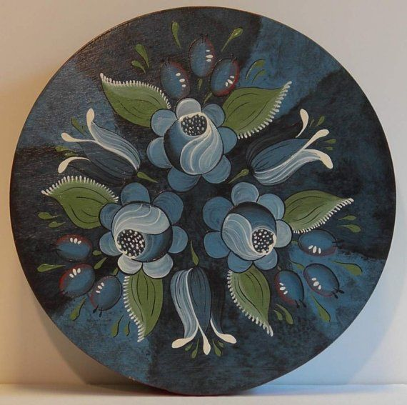 Blue Biedermeier Bouquet Hand Painted Wood Band Box by ByCoco