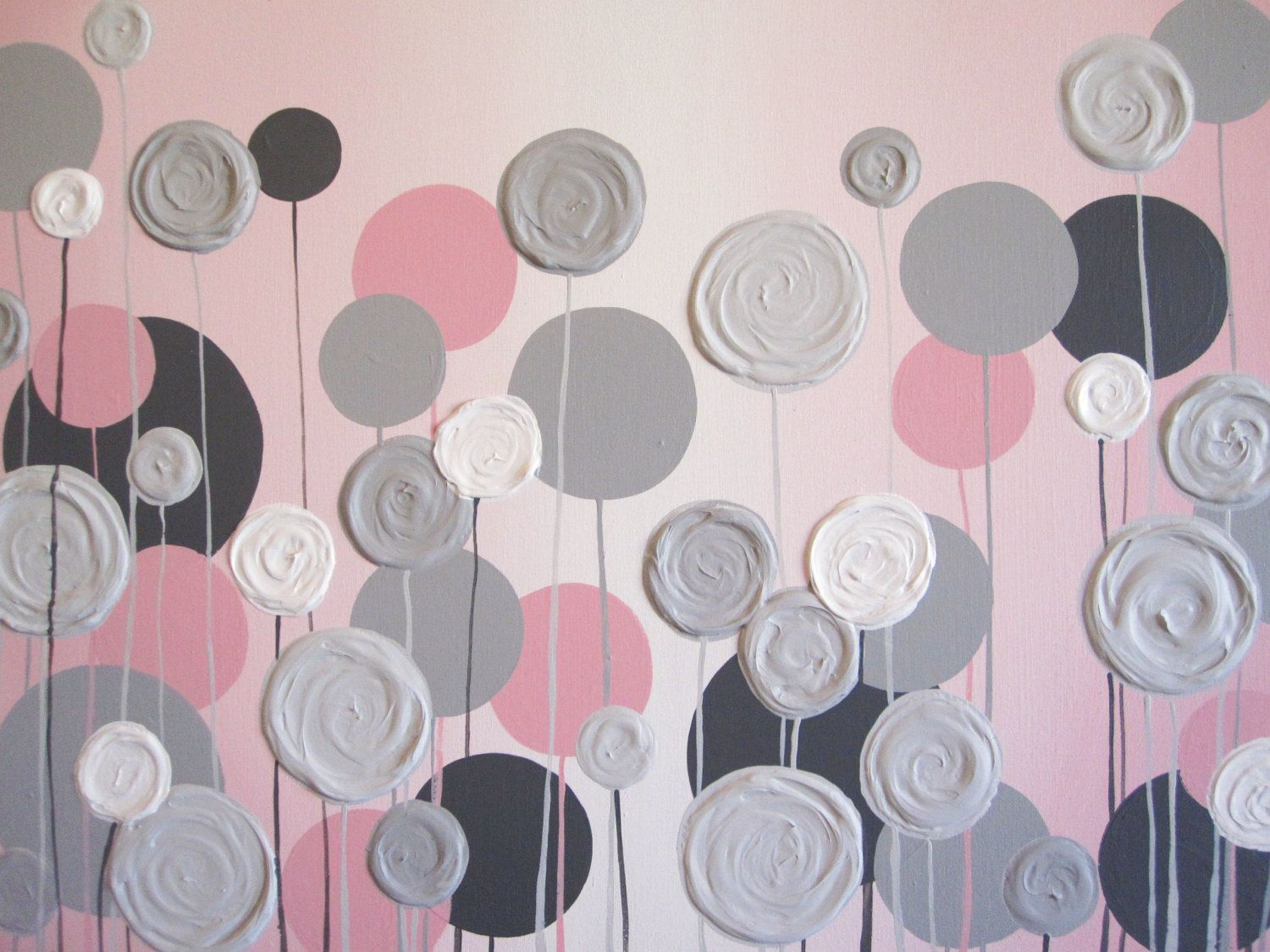 Red Black And Gray Wall Decor: Kids Wall Art Pink And Grey Textured Flowers 18x24 Acrylic