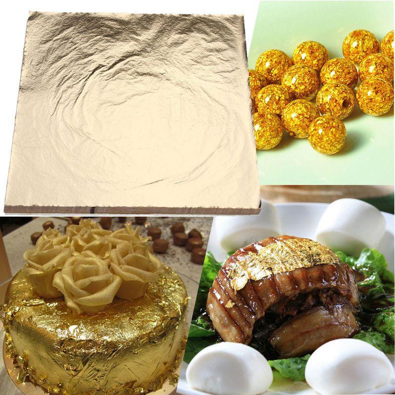 100pcs Gold Silver Foil Paper Leaves Gilding Paper DIY Art Crafts Cake Decor