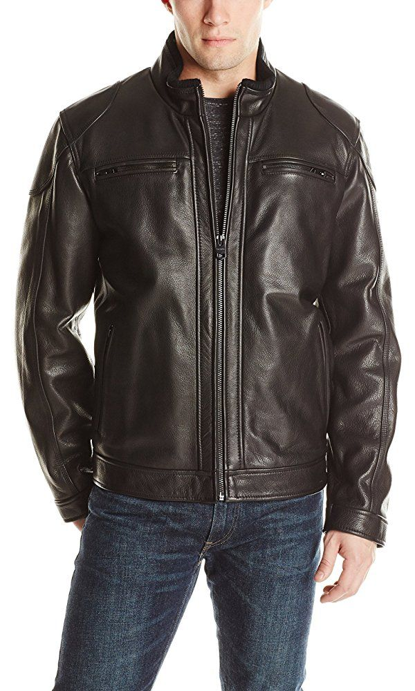 Calvin Klein Men's Leather Moto Jacket, Black, Medium Best