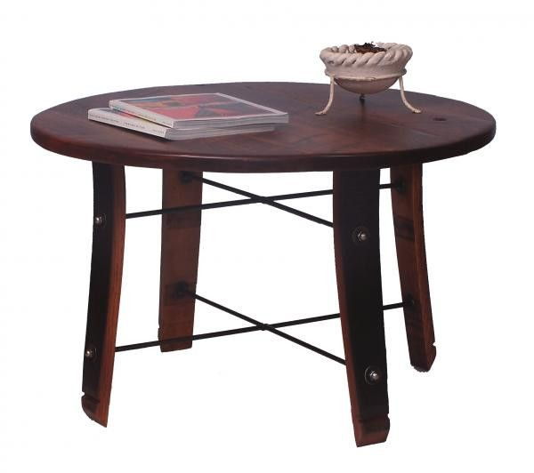 Sensational Round Stave Coffee Table Reclaimed Wine Barrel Furniture Machost Co Dining Chair Design Ideas Machostcouk