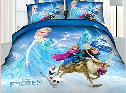 Princess Elsa Anna Frozen Cartoon Bedding Set Flat Sheet Queen