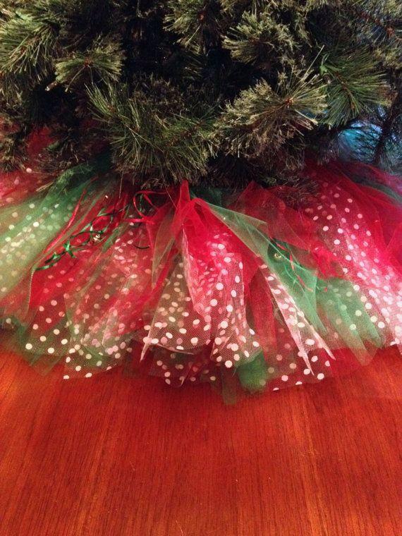 Christmas Tree Skirt Tutu Red Green White Dots Pinterest Tree