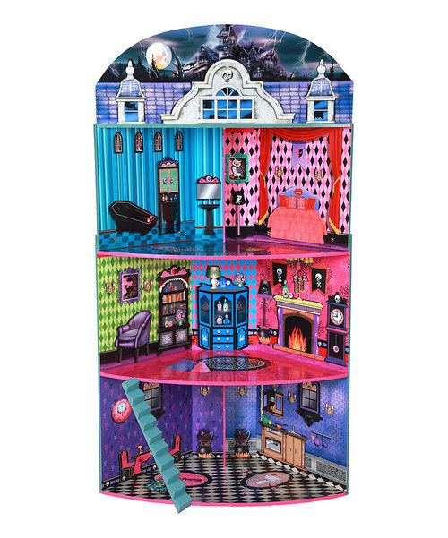 Little decorators will delight over this spooky mansion for its three floors and open rooms to design. It also features detailed pieces of furniture, bold and eerie décor, and plenty of space for imaginative play. It accommodates bitty house parties, sleepovers and other adventures.Includes dollhouse and furnitureDollhouse: 30.25'' W x 50.5'' H x 35'' D