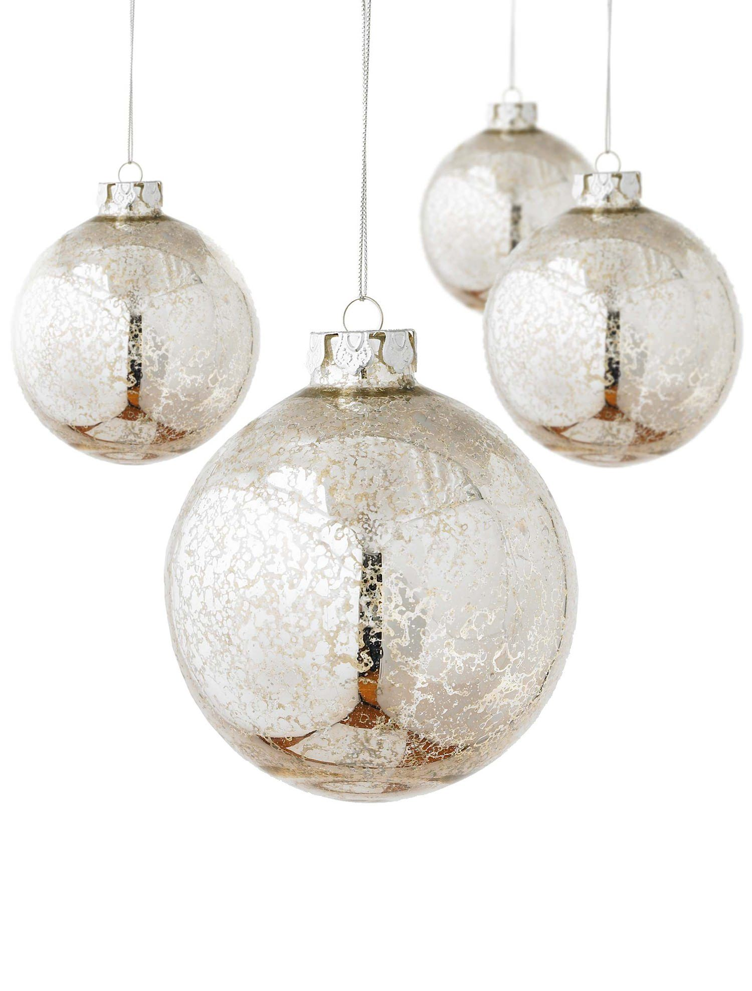 Silver Glass Christmas Ball Ornaments - Set Of 6 | Balsam Hill ...