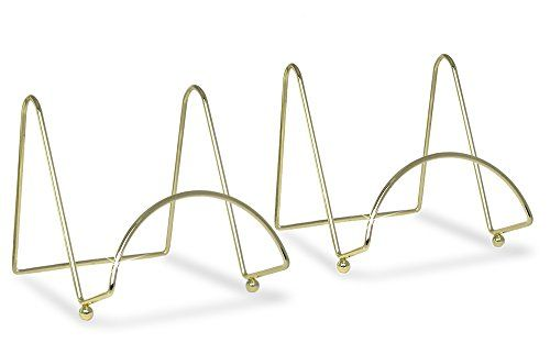 brass wire easel display stand plate holders smooth metal footed 6