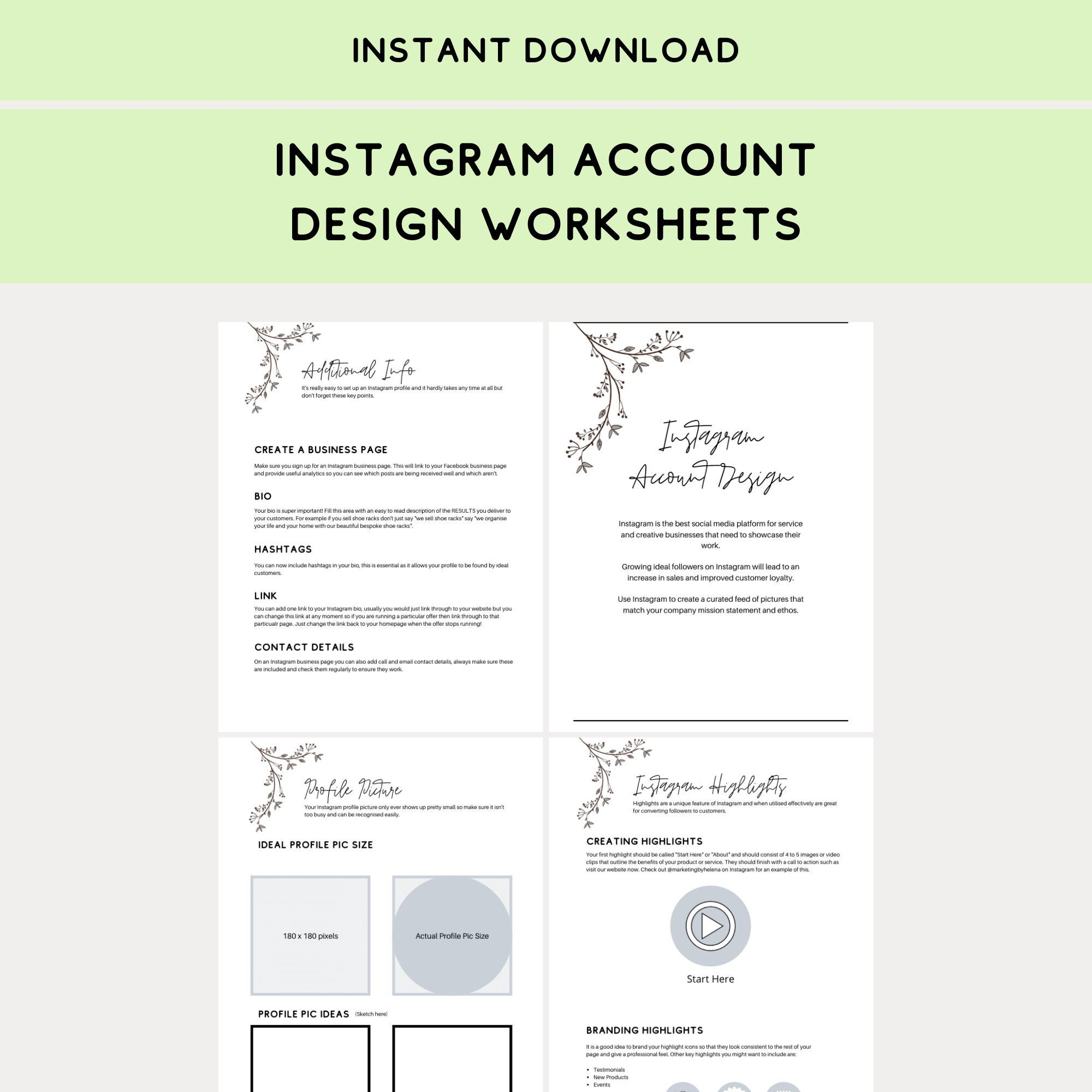 Instagram Account Design Worksheets