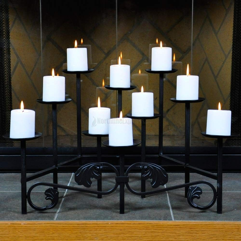 lovely black metal fireplace candelabra with ten white candle for ...