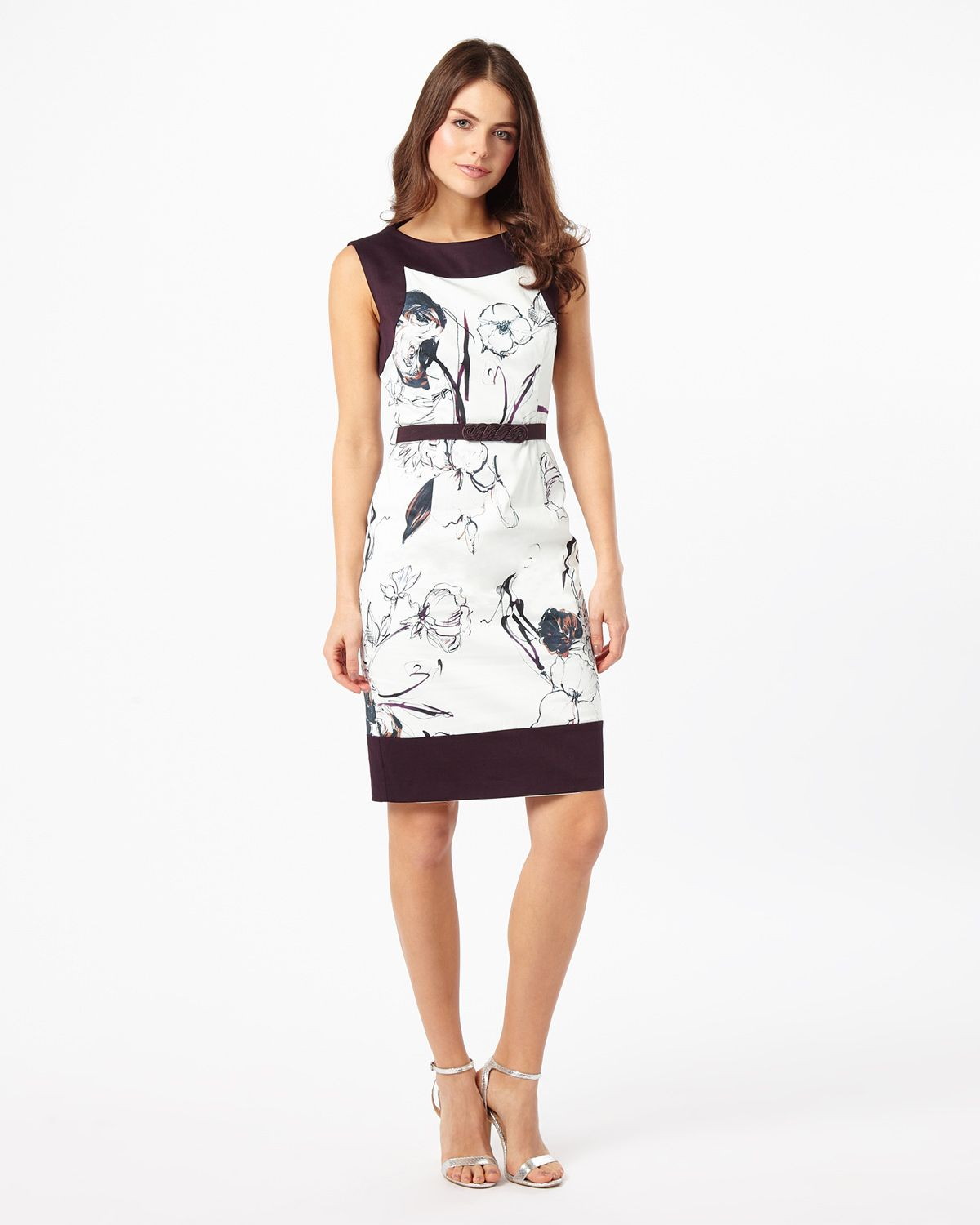 A fitted stretch cotton dress in an abstract floral print with