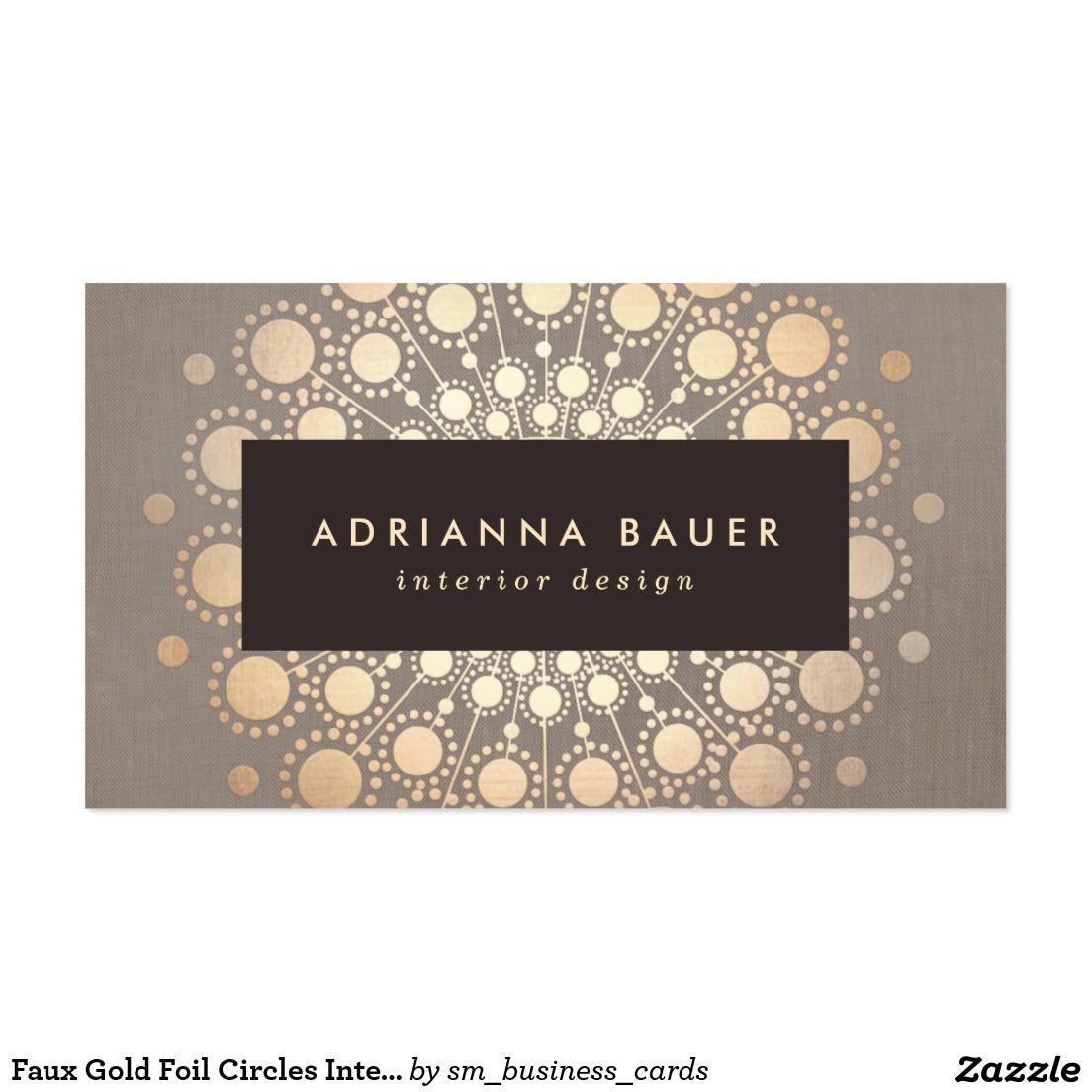 Faux Gold Foil Circles Interior Designer Taupe Business Card ...
