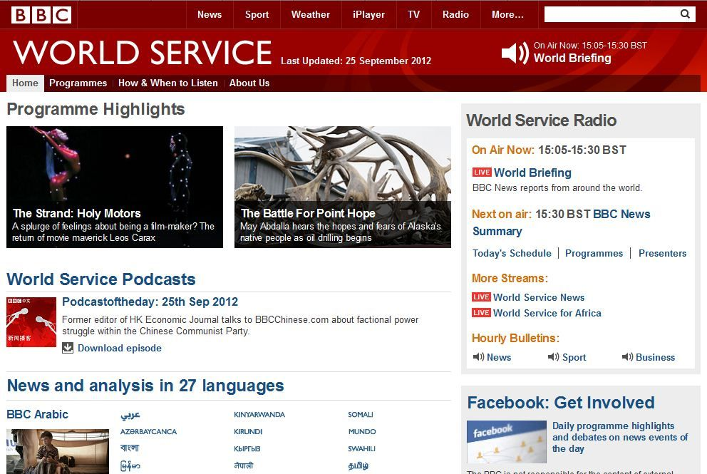 BBC World Service. The BBC's International Radio Station