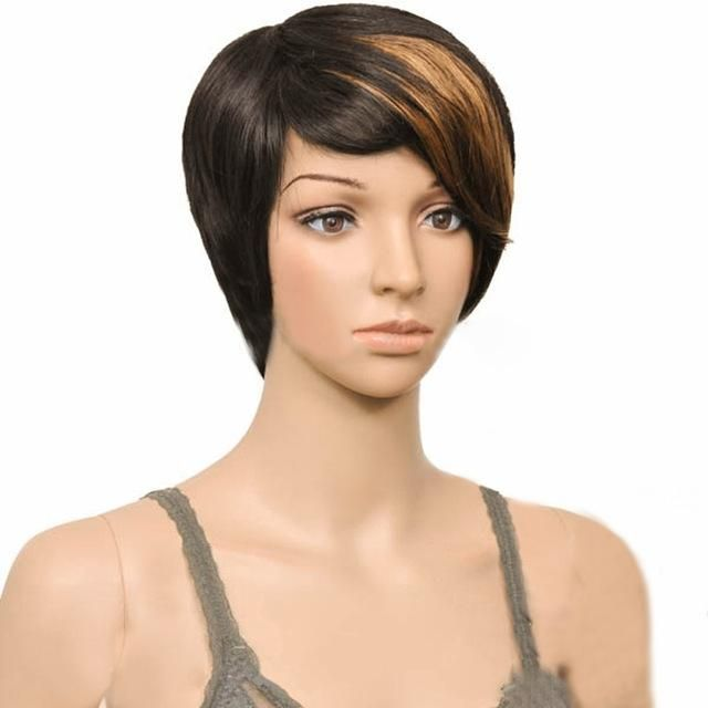 Woman Synthetic Muti-color Bangs Short Straight Cosplay Party Hair Wig High Temperature Fiber Free Shipping