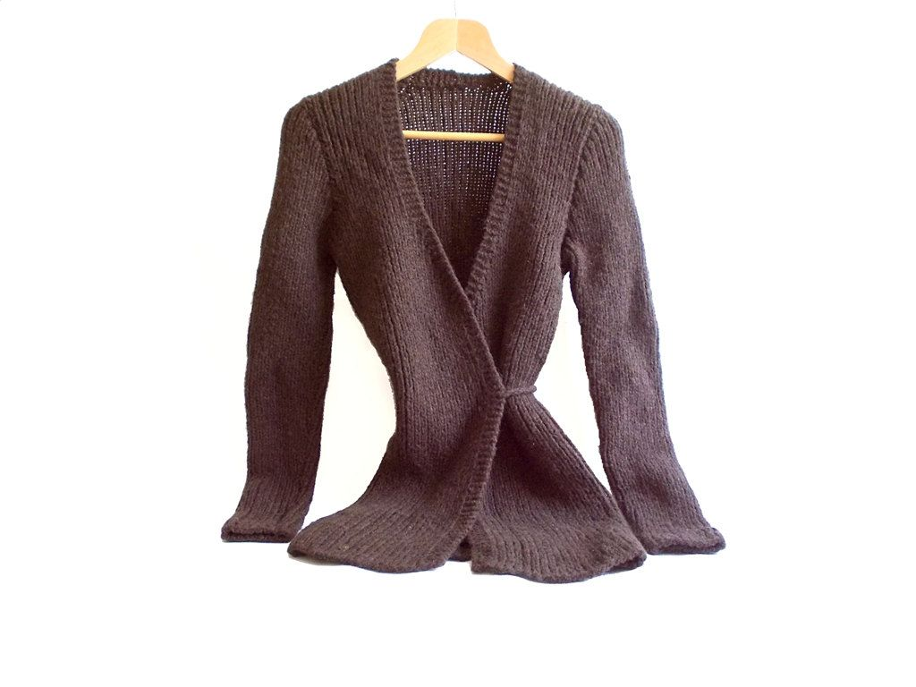 Long Cardigan- Brown Cardigan- Wool- Knitting long cardigan ...