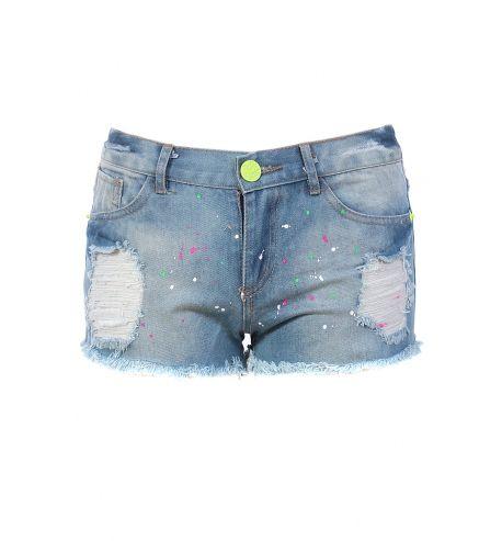 b3cc5d04636c8c Mini short en jean déchiré avec tâches de peinture fluo #JEANS #MODE ...