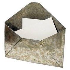 Galvanized Metal Envelope Mail Holder Target Mail Holder Diy Wall Wooden Shelves