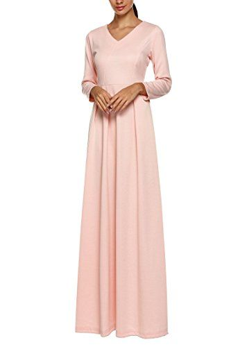 Etuoji Womens VNeck Long Sleeve Elegant Cocktail Evening Formal Maxi Dress ** Details can be found by clicking on the image.