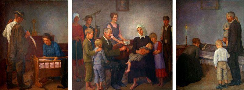 Farm worker families (triptych) Kunffy Lajos Rippl