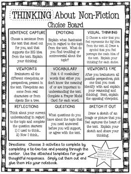 Thinking About NonFiction Choice Board  Reading Notebooks Tic