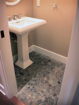 Found beach rock floor - powder room - tropical - powder room - chicago - Widler Architectural Inc.