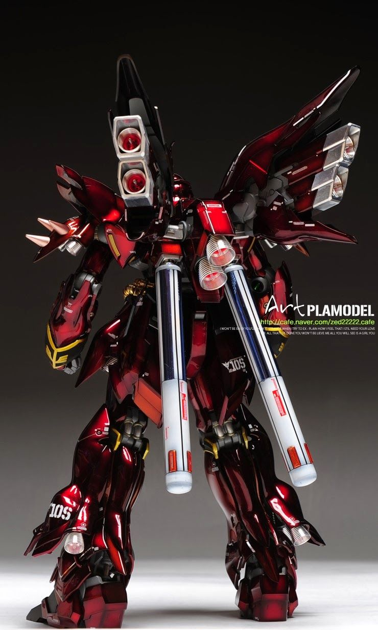 MODELER: zed22222 MODEL TITLE: N/A MODIFICATION TYPE: gloss finish, pre-shading, custom weapons KITS USED: MG 1/100 Sinanju, 1/100 Gatl...
