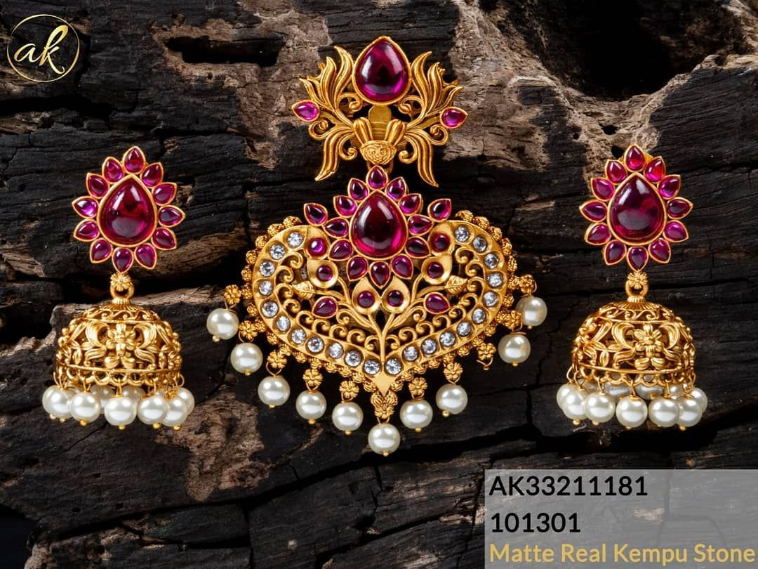 998bf5c0c7e86 Matte real #kempu #stone #jewelry To place order watsap us on ...