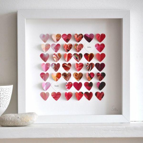 Schön Deko Ideen Valentinstag Herzen In Bilderrahmen Kleben