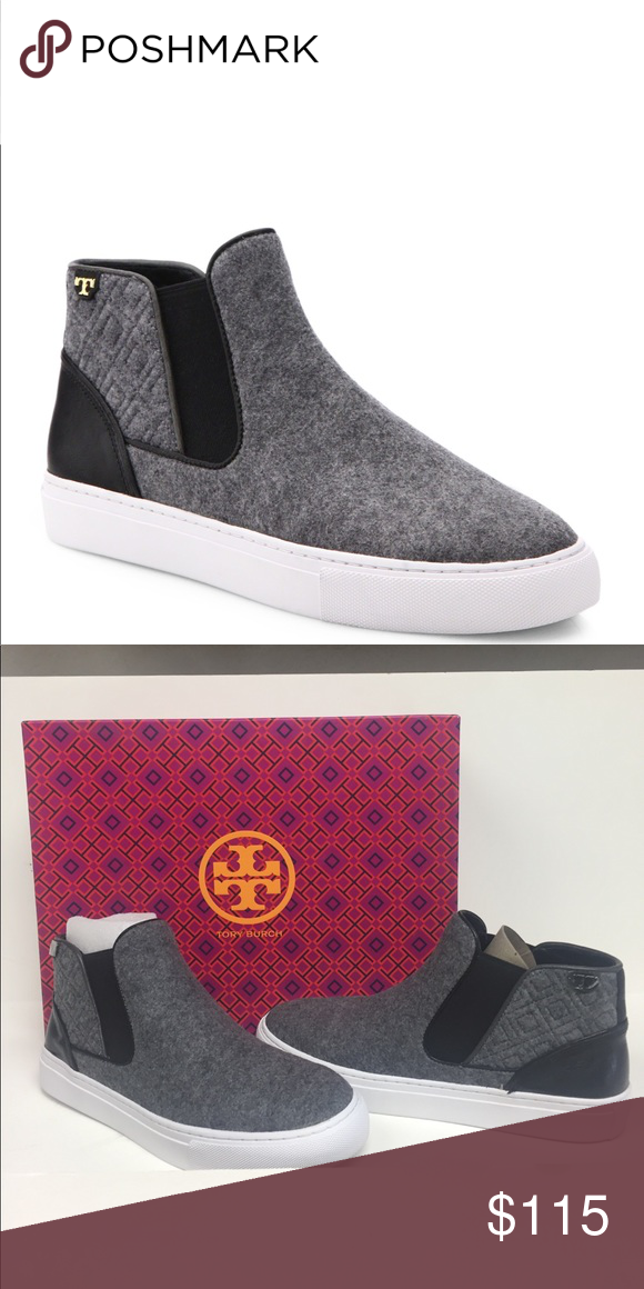 2a9c10df445f Tory Burch Marion Quilted High Top Sneakers NIB Tory Burch sneakers cut  from brushed felt.