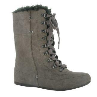 Zapato bota media caña gris en nobuck. Referencia: 61905