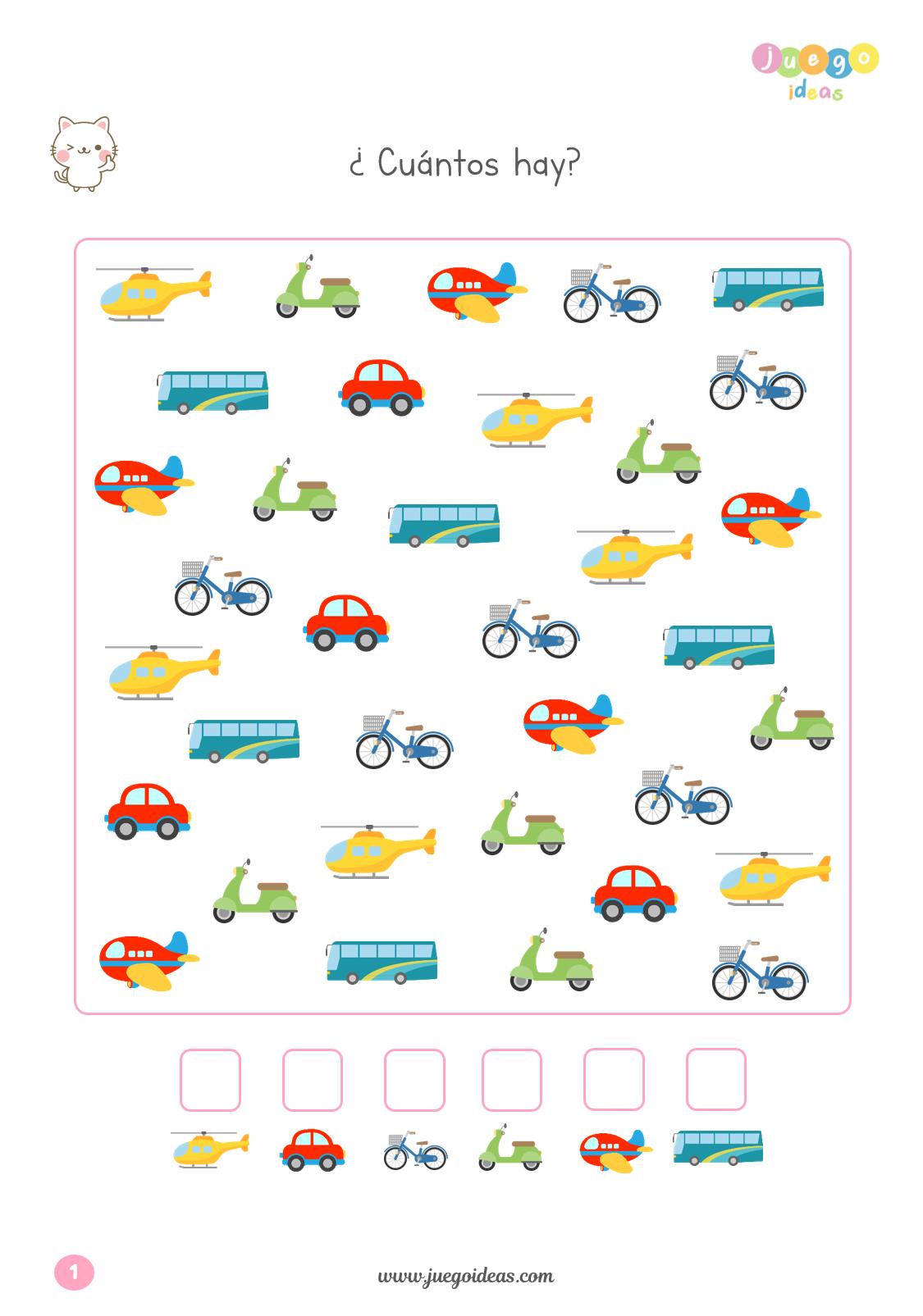 Cuántos hay? (con imágenes)   Juegos matematicos para niños ...