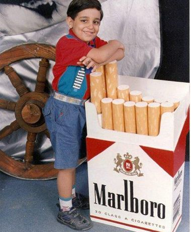 """Never use children to sell bad things. Here just stand next to these giant cigarettes and say """"wheeze""""..."""