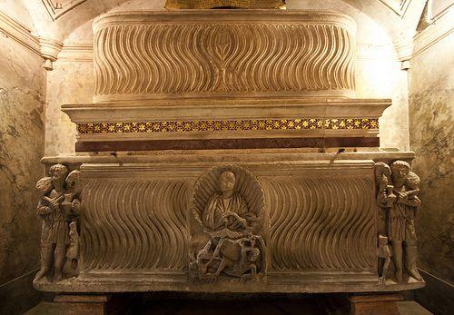 beautifully carved sarcophagi